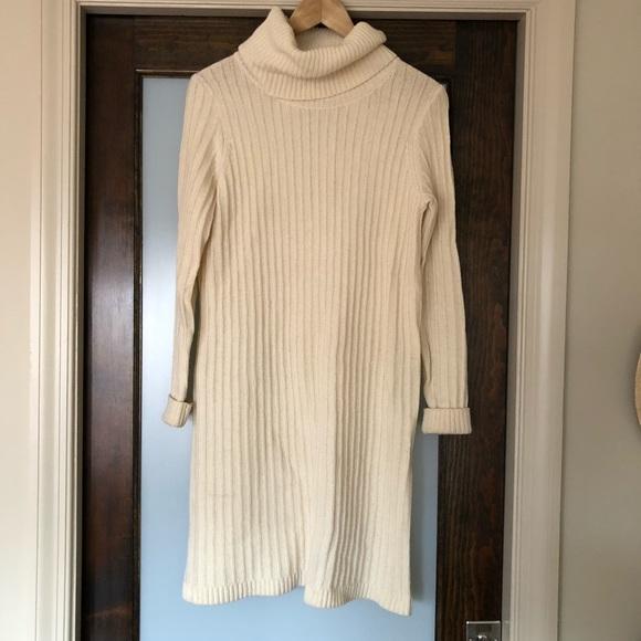 Madewell Dresses Cream Turtleneck Sweater Dress Poshmark